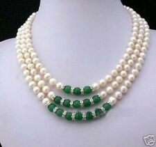 3Rows 7-8MM White Akoya Pearl & Emerald Necklace