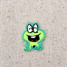 Iron On Embroidered Applique Patch Small Green Childrens Laughing Frog