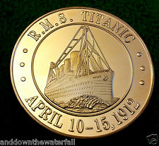 TITANIC COIN GOLD Commemoration Medal Worlds Famous Ship White Star Line Flag UK