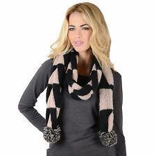 Linz Scarf Womens Plaited Black & Beige Knit Ladies Winter - Great Xmas Gift!