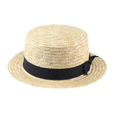 1x Unisex Summer Beach Sunhat Flat Top Straw Hat Boater Cap Black Ribbon Band