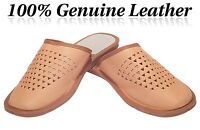 Men Classic Slippers 100% Genuine Leather Flipflop mules size 6 7 8 9 10 11 12