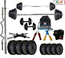 Bodyfit BF-20KG Weight Plates,5ft Rod,3ft Rod,2 D.RODS Home gym dumbell set.