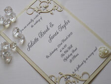 WEDDING INVITATION LASER CUT DELICATE FLORAL SLEEVE, INSERT & ENVELOPE (009)