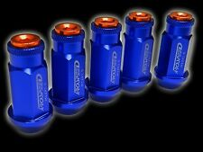 20PC 12X1.25MM 50MM EXTENDED ALUMINUM RACING CAPPED LUG NUTS BLUE/ORANGE