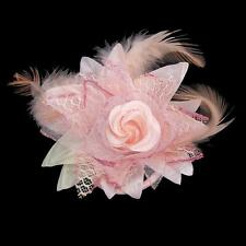 Flower and Feather Hair Flower Pin Brooch for Women - Salmon Pink