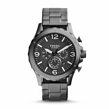 NEW Fossil JR1469 Men's Nate Chronograph Black Textured Dial Smoke Grey Watch