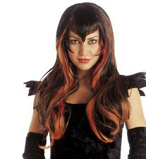 Ladies Black Orange Emo Goth Witch Wig Scary Horror Evil Bride Vampire Halloween