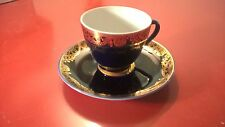 Russian USSR Lomonosov Porcelain LFZ Tea Cup and Saucer Cobalt Net 22 Gold