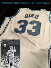 New Larry Bird #33 Custom White/Road Indiana State Throwback Jersey Men's Large