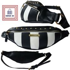 LYDC Anna Smith Monochrome Stripe Festival Holiday Belt Travel Hip Bumbag