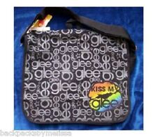 Kiss My GLEE Black Canvas Messenger Tote Bag NeW with Tags Backpack 14x10x4 L