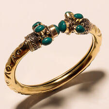 STYLISH TURQUOISE 925 TIBETAN SILVER VINTAGE SOLID BRASS BRACELET JEWELERY.