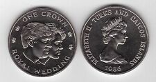 TURKS AND CAICOS ISLANDS – 1 CROWN UNC COIN 1986 YEAR KM#60 PRINCE ANDREW MARRIA