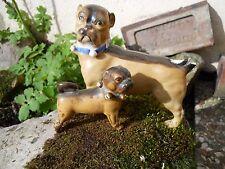 2 anciens sujets chien carlin en porcelaine Allemande fin XIXème