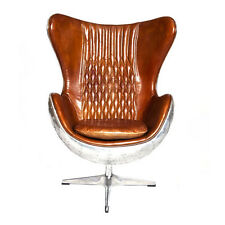 Industrial aluminium  brown leather aviator style office egg Chair man cave
