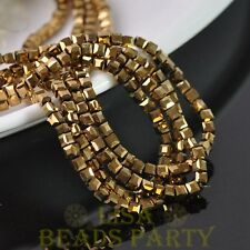 100pcs 4mm Cube Square Faceted Crystal Glass Loose Spacer Beads Gold Plated
