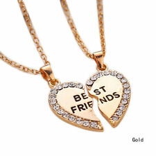 BEST FRIEND FRIENDSHIP  HEART GOLD PLATED  RHINESTONE 2 IN 1 PENDANT  NECKLACE