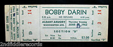 BOBBY DARIN-Rare Unused Concert Ticket From 1962-Mack The Knife-Teen Idol