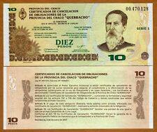 Argentina, Chaco Province Emergency Note, 10 Pesos, 2002, Not cancelled UNC