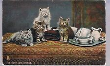 TUCK POST CARD IN KITTENDOM WE DON'T MIND WAITING 1912 1/6 IN SET - KITTENS