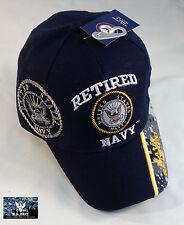 US Navy RETIRED Ball Cap BLUE with Camo USN Veteran Chief PO1 CPO SCPO MCPO Hat