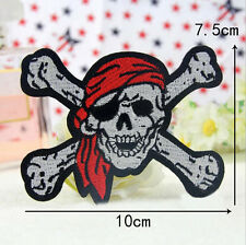 Embroidered Iron Sew on Patch Badge Skull Cross Bones Bag Pirate Punk Applique