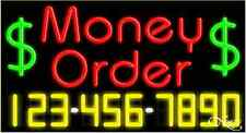 "NEW ""MONEY ORDER"" w/YOUR PHONE NUMBER 37x20 NEON SIGN W/CUSTOM OPTIONS 15081"