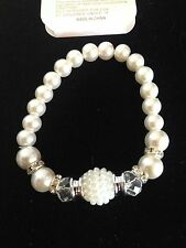 "Fashion Faux Pearl 7"" Stretch Bracelet With Crystals & Silver Bead Spacers NWT"