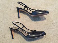 Ann Taylor Black Leather Slingback Sz 9 M Closed Toe Pumps Heels Strappy