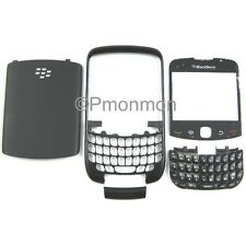 Blackberry Curve 3G 9300 Housing w Screen Lens/Back Door/Keypad * Plain Black *