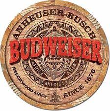 NEW Budweiser Beer Keg Barrel End Antique Vintage Look Alcohol Tin Metal Sign