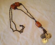 Vintage Silvertone And Bakelite Bead Coin Necklace Berber? Islamic? Arabic?