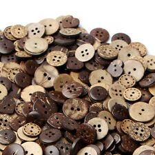 50pcs Mix Shape Brown Coconut Shell 4 Holes Buttons Sewing Scrapbooking 18mm