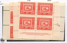 Canada 1951 Stamp Centenary 15c Plate #1 Block set of 4 #314 VF MNH
