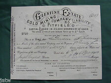 Share Scrip - Mining. 1907 Glenfine Estate Gold Mining Co - Pitfield Vic