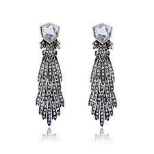 Maven Plumage Statement Earrings Cascades of Crystals Peacock Antique Silver CI