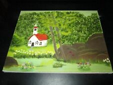 Outsider Amateur Original Oil Painting16x20 Church in a Country Meadow