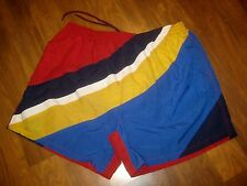 Vtg BASIC Sailing Nautical Flag Mens XL Colorblock polo Swim suit trunks shorts
