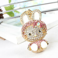Hot Selling Rabbit New Ear Lovely Rhinestone Crystal Pendant Purse Bag Key Chain