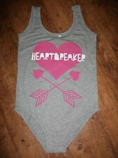 INTERNACIONALE MARL GREY STRETCHY COTTON PINK HEARTBREAKER HEART ARROW VEST BODY