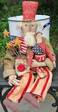 Primitive Handmade Uncle Sam & Lady Liberty Dolls OOAK