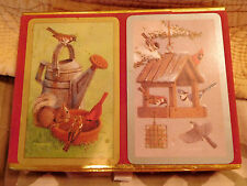 CONGRESS DOUBLE Deck PLAYING CARDS Boxed COCHRAN BIRDS Feeder Watering Can