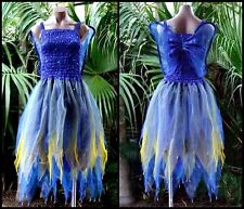 Fairy Dress Party Costume with Wings – WOMEN'S ONE SIZE - Royal Blue/Gold