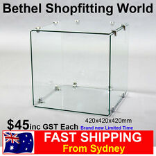 Single Glass Cube Display For Jewellery Model Car Hobbies Brand New