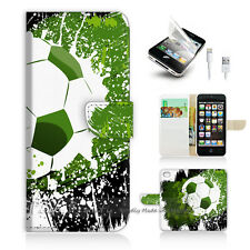 iPhone 5 5S Print Flip Wallet Case Cover! Soccer Football P0299