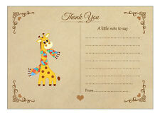 Vintage Giraffe Thank You Note Cards With Brown Kraft Envelopes - Pack of 20