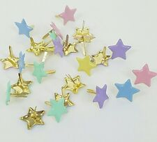 25 Pastel Star Brads for Paper Crafts Scrapbooking 5 Colors Baby Shower Stamping