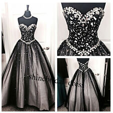 New Crystals Black Lace Formal Prom Ball Wedding Gown Quinceanera Dresses Custom