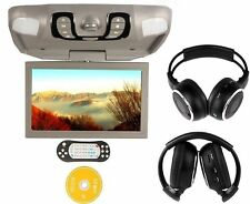 "Gray 15.6"" Car Roof Mount Overhead Monitor DVD Player Games FM USB Headsets"